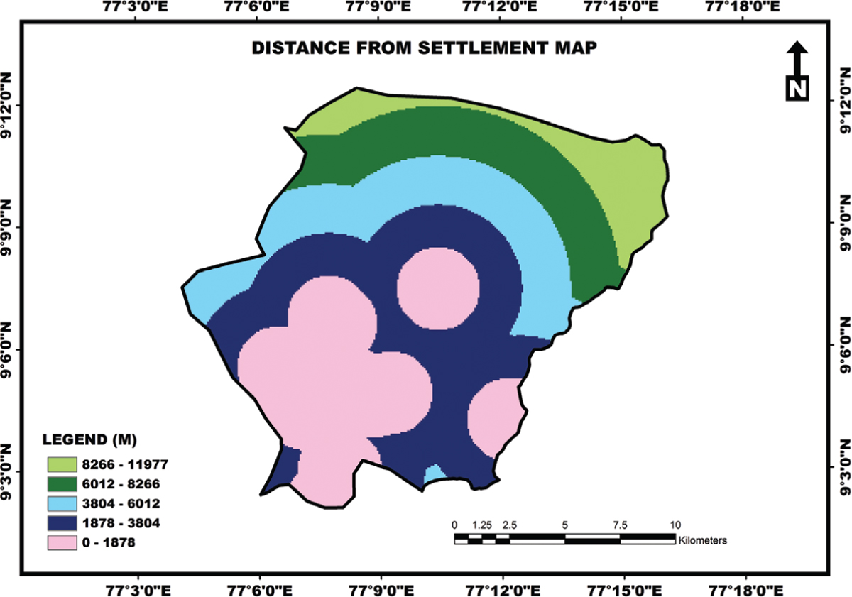 Figure 4: Distance from settlement map